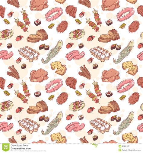 food pattern photography vintage food set seamless pattern stock vector image