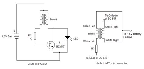 joules thief circuit diagram joule thief circuit start up project 5 electronics hobby
