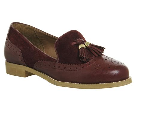 burgundy tassel loafers womens office ringo tassel brogue loafers burgundy leather