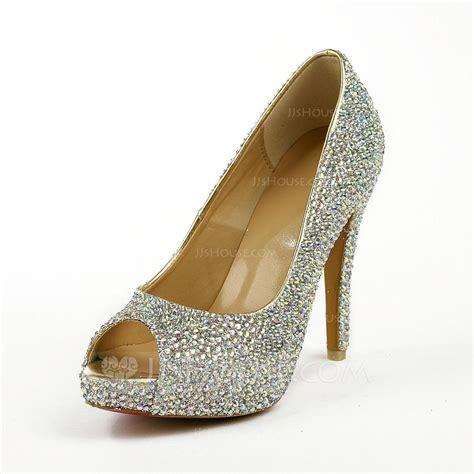 Platform Rhinestone Sandals leatherette stiletto heel sandals platform peep toe with
