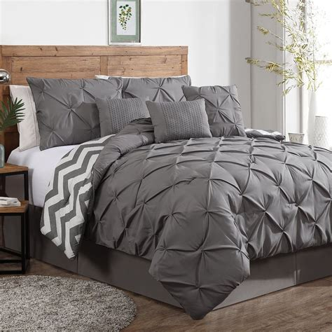 gray ruffle bedding modern reversible chic white grey ruffled pintuck chevron