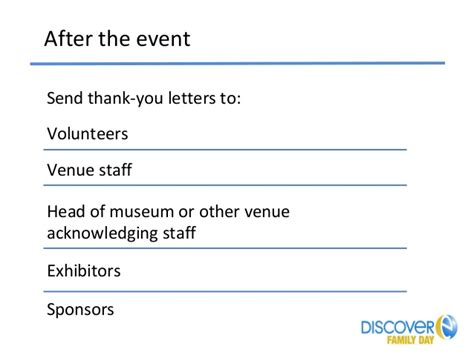 thank you letter to event staff discovere family day toolkit