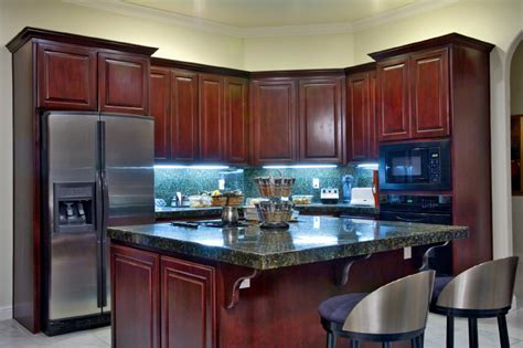 Backsplash Tile For Kitchens Cheap by Here S A Corner Kitchen Decked Out In Dark Cherry Wood
