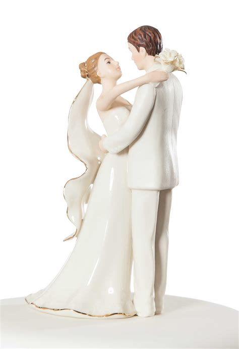 Off White Porcelain Bride and Groom Wedding Cake Topper