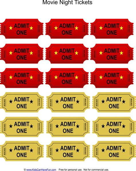 printable movie night tickets 33 best images about party ideas for kids party games