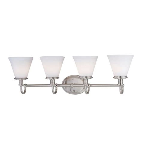 Ls Plus Bathroom Vanity Lights Illumine Designer Collection 4 Light Steel Bath Vanity L With Glass Cli Ls 16654ps Fro