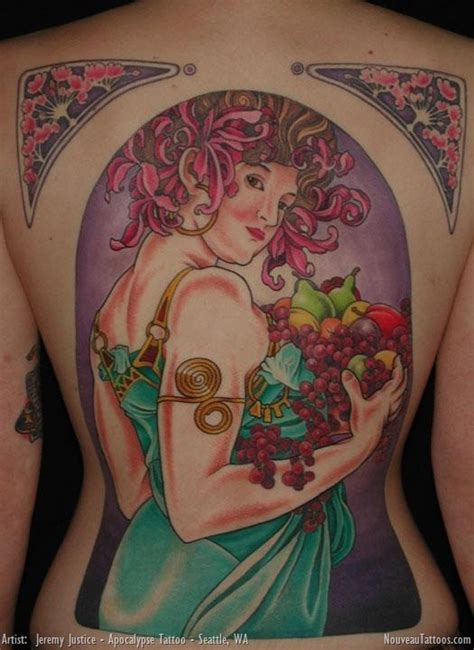 tattoo nouveau alphonse mucha nouveau 1897 fruit backpiece back