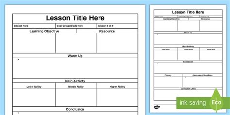 lesson plan template lesson plan australia planning