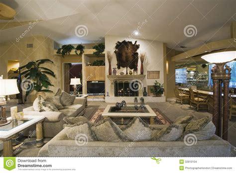 animal room living room with wall mounted animal pelt stock photo image 33910104