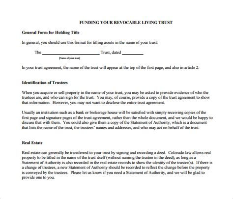 28 trust agreement template living trust form