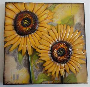 Sunflower Wall Decor by Contemporary Metal And Wood Wall Decor Or Sculpture