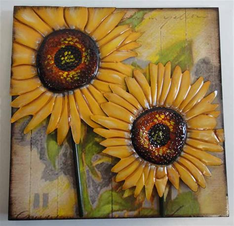 sunflower wall decor contemporary metal and wood wall decor or sculpture