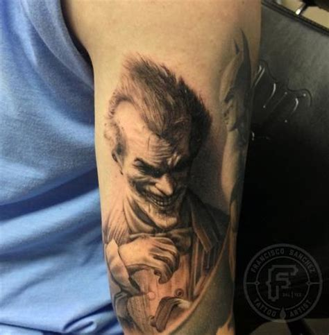 black and grey joker tattoo arkham joker tattoo by francisco sanchez tattoos