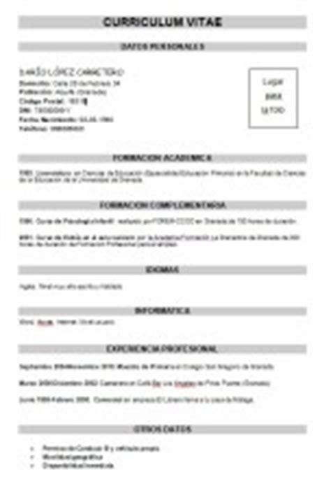 Modelo De Curriculum Vitae En Blanco Para Rellenar Plantilla De Curriculum Vitae B 225 Sico Modelo Curriculum