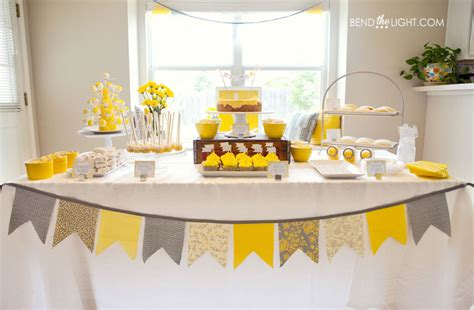 Yellow And White Baby Shower Ideas by Jenn S Baby Shower 187 Bend The Light