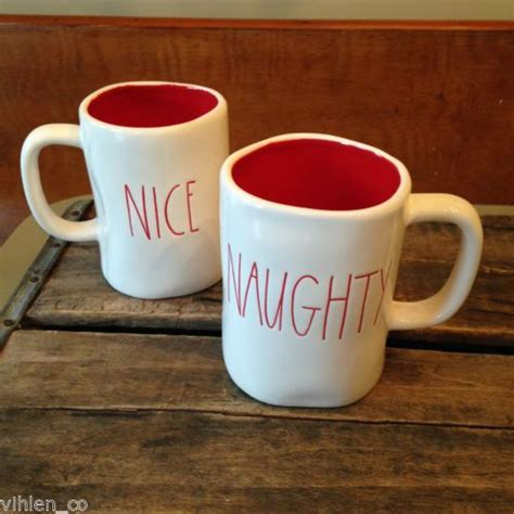 rae dunn mugs rae dunn naughty nice christmas mugs pair of 2