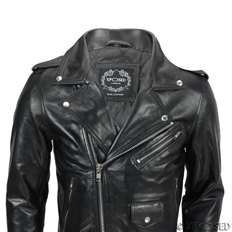 real leather biker mens waxed soft real leather black biker jacket vintage