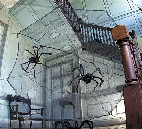 How To Make A Large Spider Decoration by 12 Foot Black Spider Web With Spiders The Green