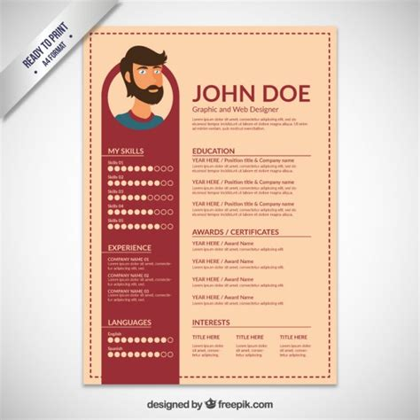 Design Resume Template by Resume Template Flat Design Vector Free