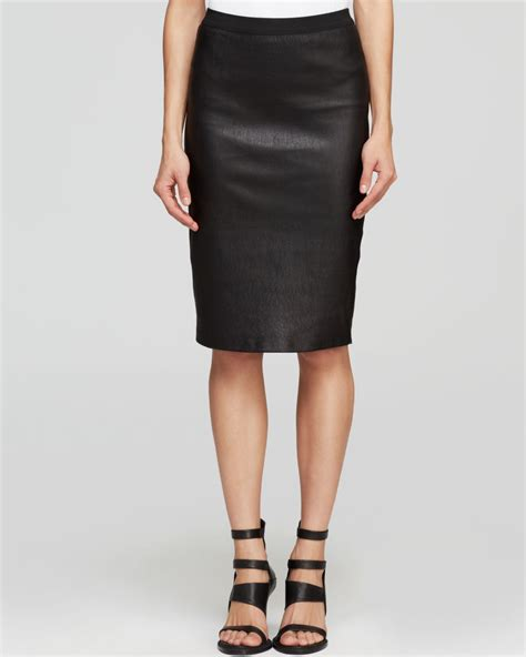 helmut lang skirt stretch plonge leather pencil in black