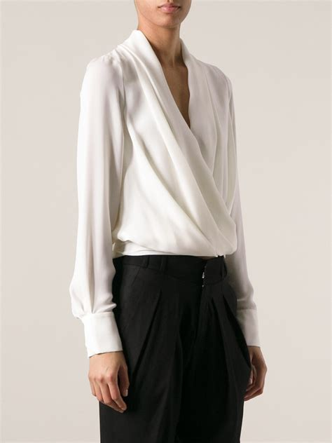 draped blouse plein sud draped blouse in white lyst