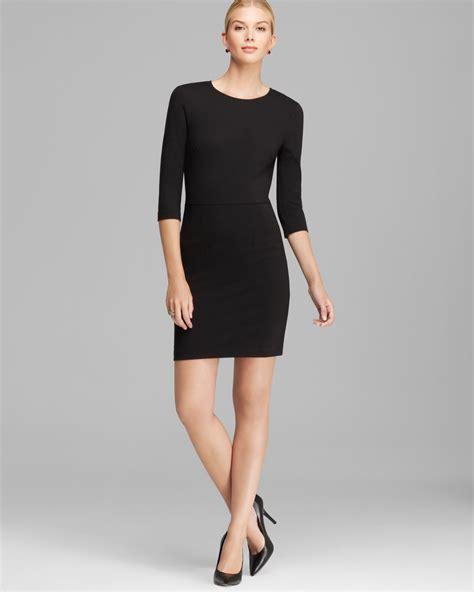 Sleeve Sheath Dress lyst three dots three quarter sleeve sheath dress in black