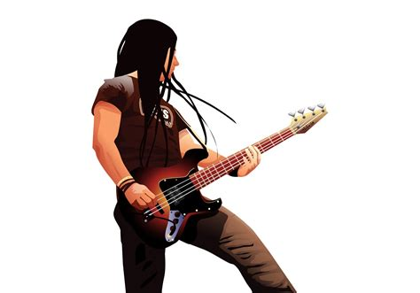 rock guitar player on dish net commercial bass player portrait download free vector art stock