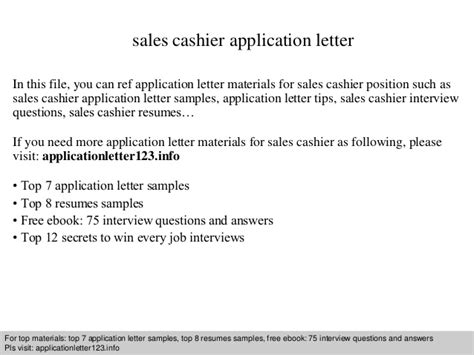 application letter sle cashier sales cashier application letter