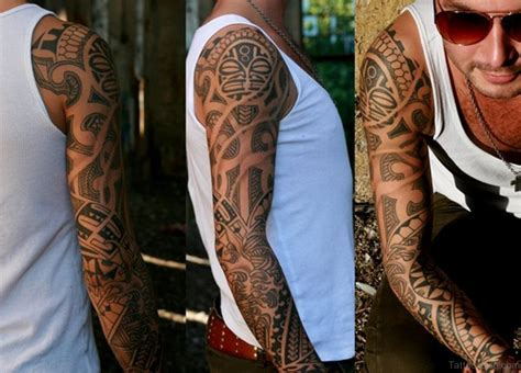 full hand tribal tattoo 56 maori designs on sleeve