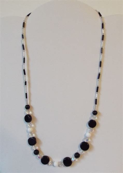 black white and clear beaded necklace aftcra