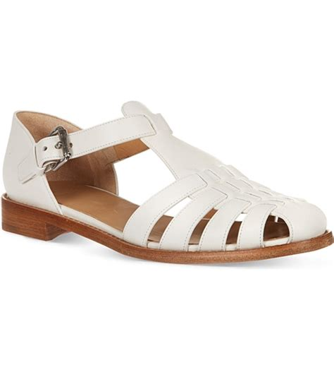 white closed toe sandals church s kelsey leather closed toe sandals white nuji