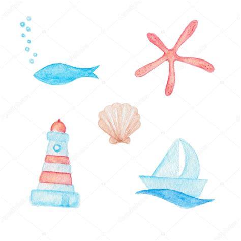 dessin bateau rouge dessins d 233 toile de mer coquille bateau et phare poisson