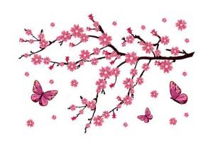 Butterfly Stickers For Bedroom Walls cherry blossom branch with butterflies wall decal vinyl