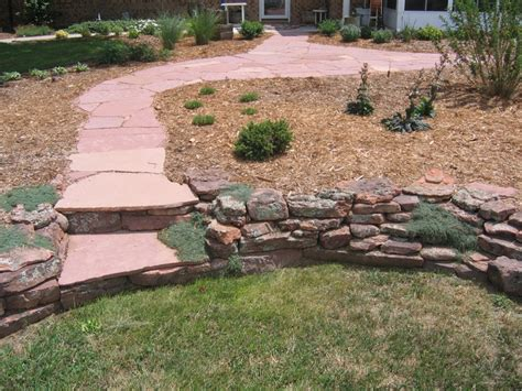 Backyard Ideas Patio Flagstone Stairs In Moss Rock Wall By Glacier View