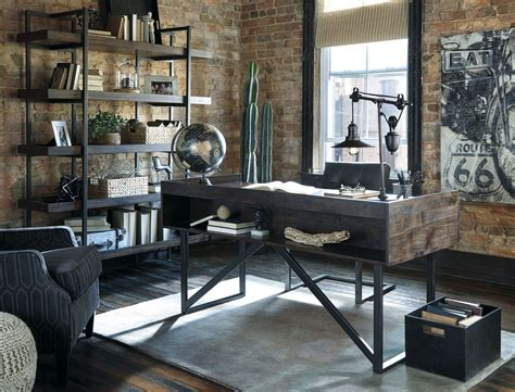 industrial style home office desk starmore brown home office set from ashley coleman furniture