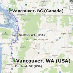 map of washington state and canada vancouver washington wa usa vs vancouver bc canada