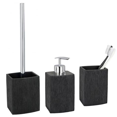 Black Bathroom Set by Wenko Recife Bathroom Accessories Set Black At