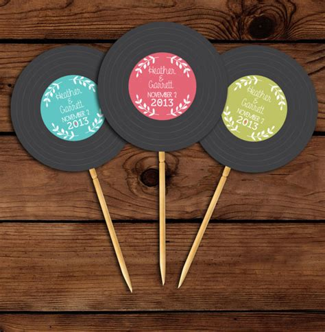 printable vinyl record stickers custom vinyl record printable cupcake toppers birthday