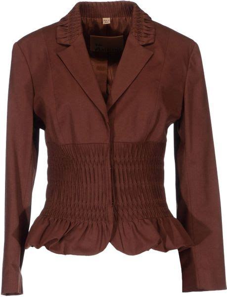 Blazer Coco Kulit Sintetis Brown galliano blazer in brown cocoa lyst