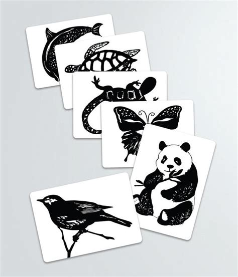 black  white contrast animal art cards baby shower
