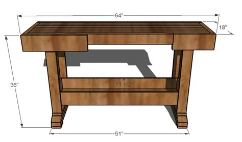 work bench size ana white workbench console diy projects