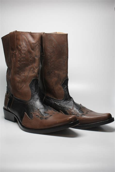 gbx mens two toned brown black leather boots sz 11 1 2 ebay