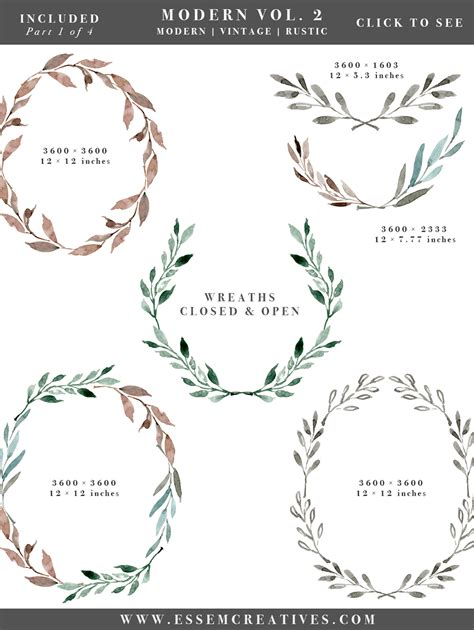 watercolor leaves wreaths clipart diy watercolor wedding invitations
