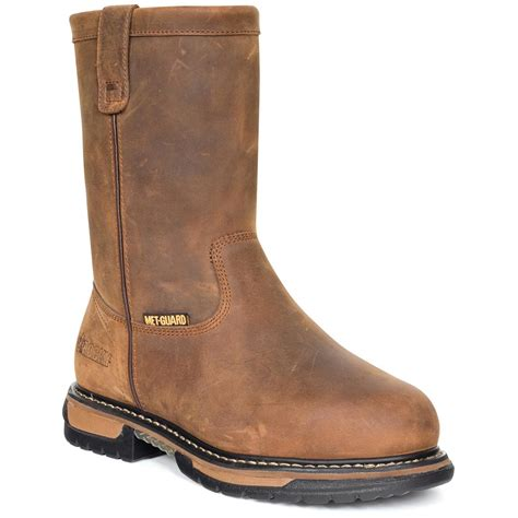 pull on work boots s rocky 174 iron clad metguard pull on work