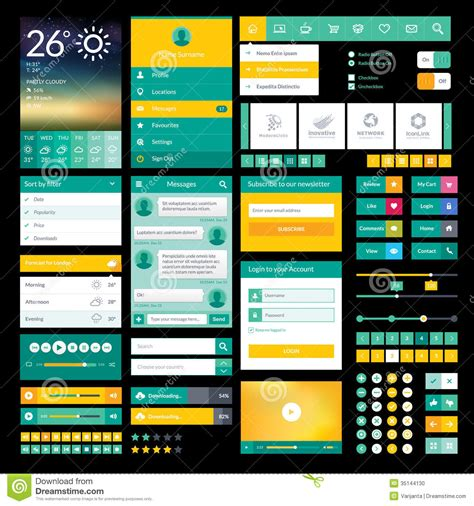 flat mobile flat icons and elements for mobile app and web des stock