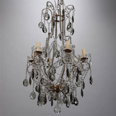 French Six Light All Crystal Beaded Chandelier With Smoke Drops For Chandelier