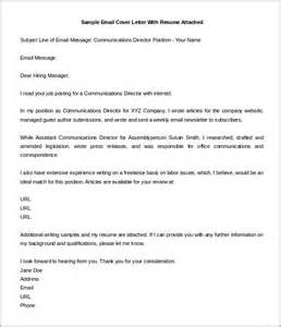 Cover Letter With Resume Attached email cover letter email cover letter and resume email cover letter