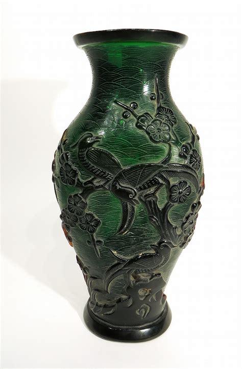 Glass Bird Vase Chinese Peking Glass Bird Vase