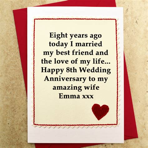 8 Cards To Send For A Wedding by Personalised 8th Wedding Anniversary Card By Arnott