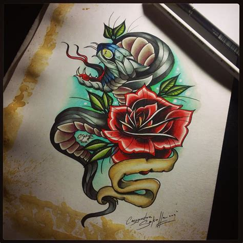 snake and rose tattoo designs the gallery for gt neo traditional designs